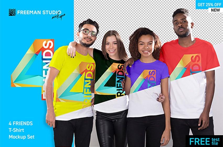 4 Friends T Shirt Mockup Template