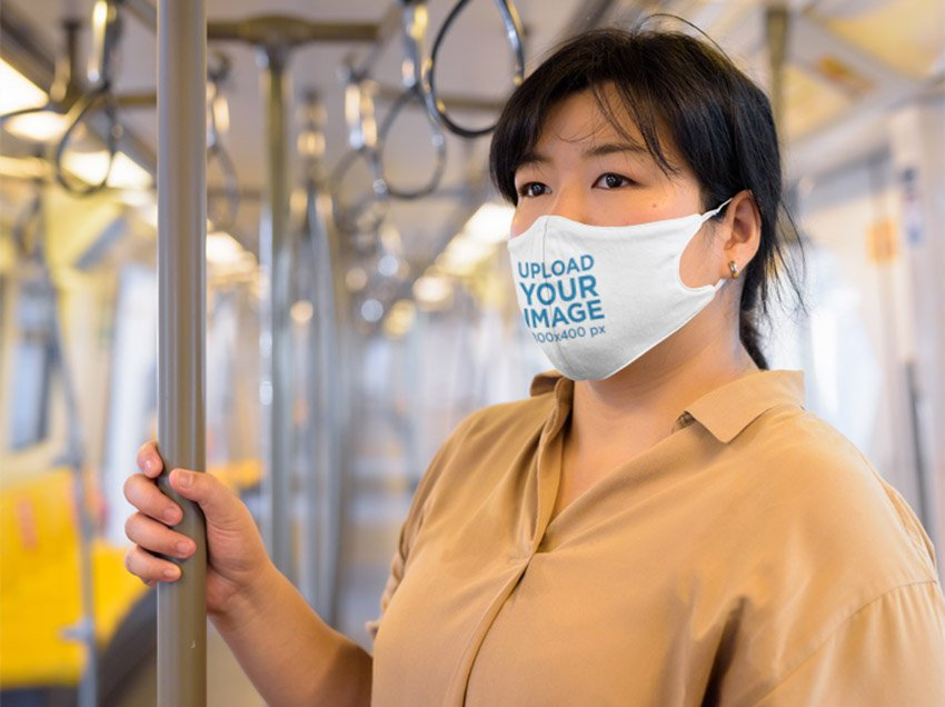 Face Mask Mockup of Woman on Train