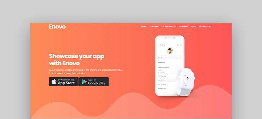 Enovo Mobile Landing Page Template
