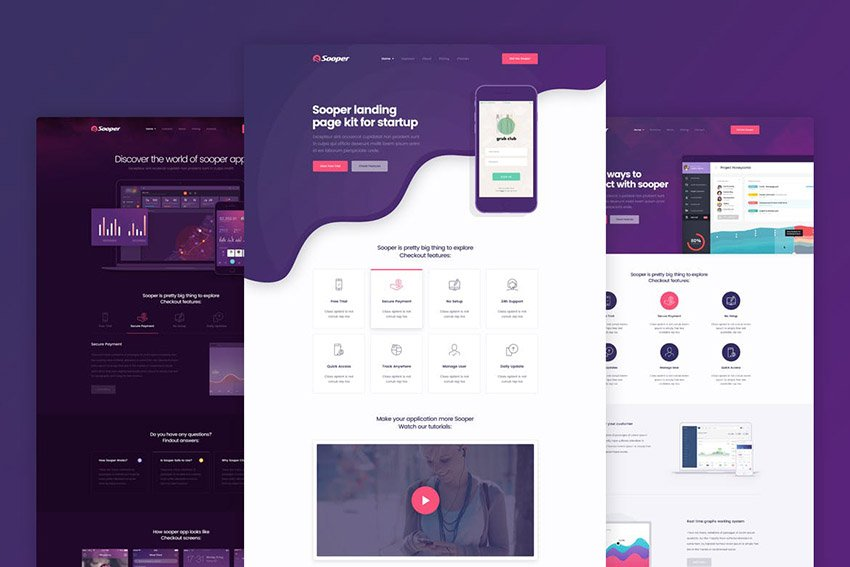 Sooper Mobile App Landing Page Template