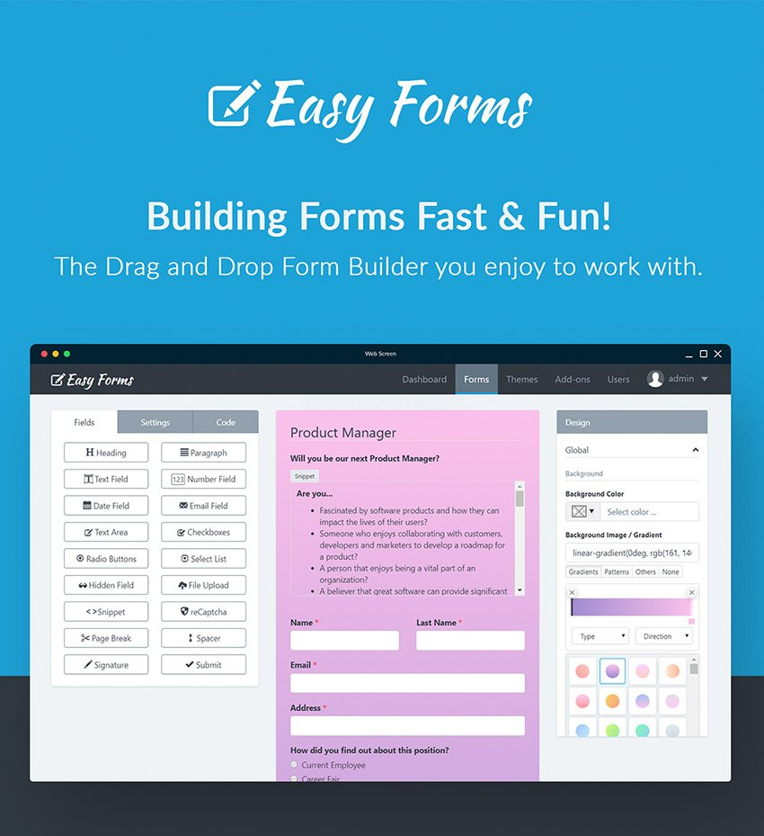 Easy Forms Create Contact Form