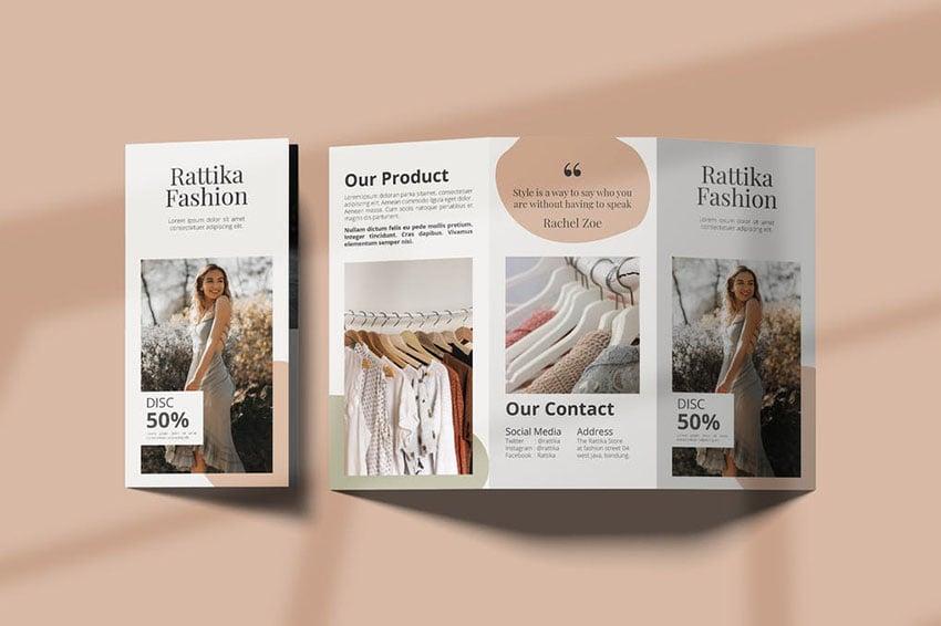 Fashion Lookbook Trifold Brochure Template