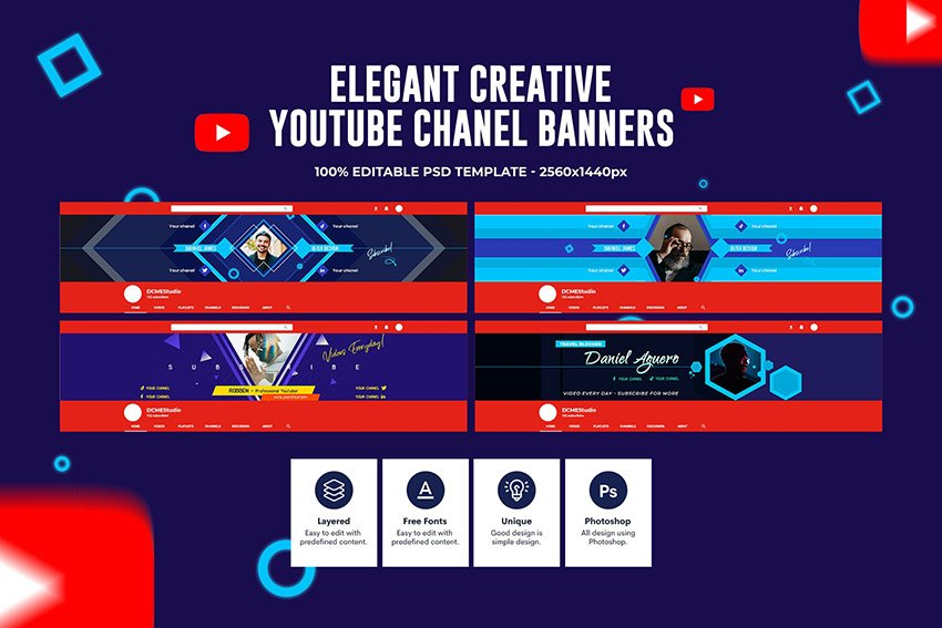 Elegant Template YouTube Banner Gaming