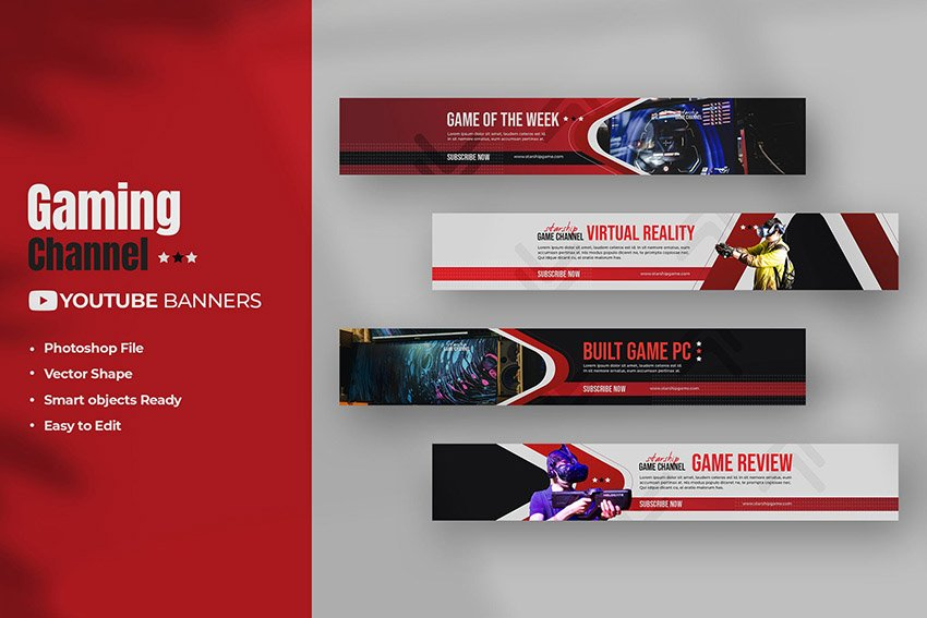 Template YouTube Gaming Banner Pack