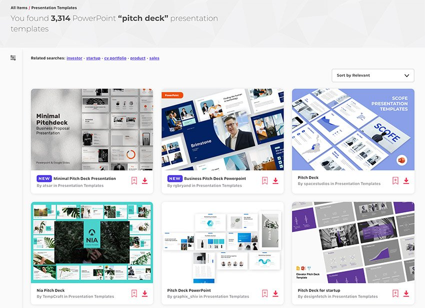 pitch deck ppt templates from Envato Elements