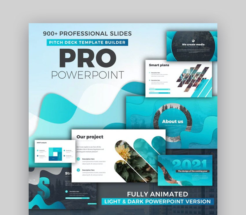Infographics Trendy PowerPoint Pitch Deck Template 2021