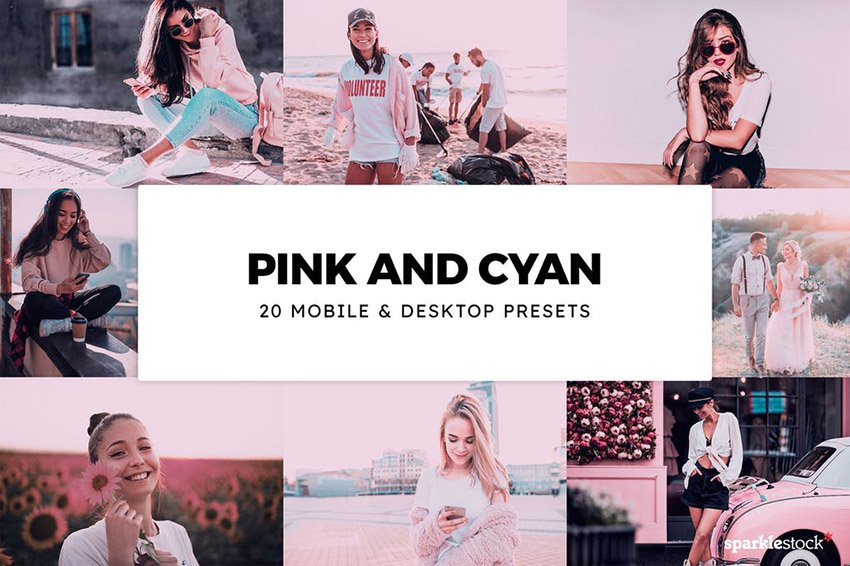 Pink and Cyan Lightroom Presets and LUTs