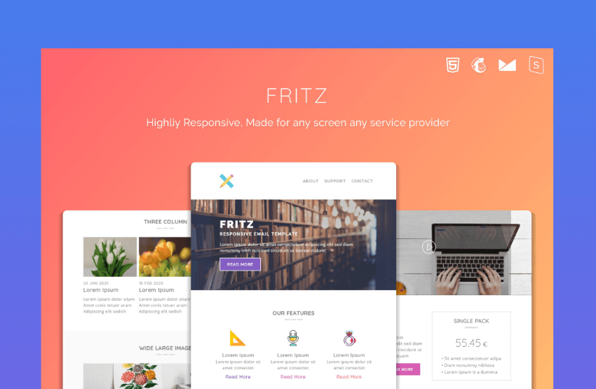 fritz responsive email template mailchimp