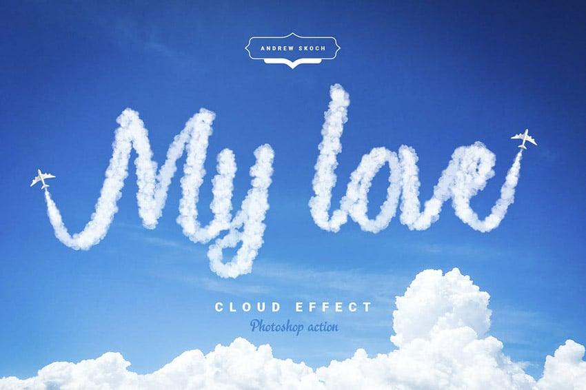 Cloud Text Effect Photoshop