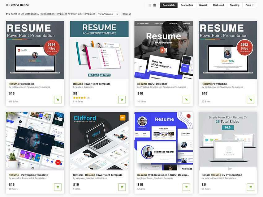 PowerPoint Resume Slideshow Presentation Templates From GraphicRiver