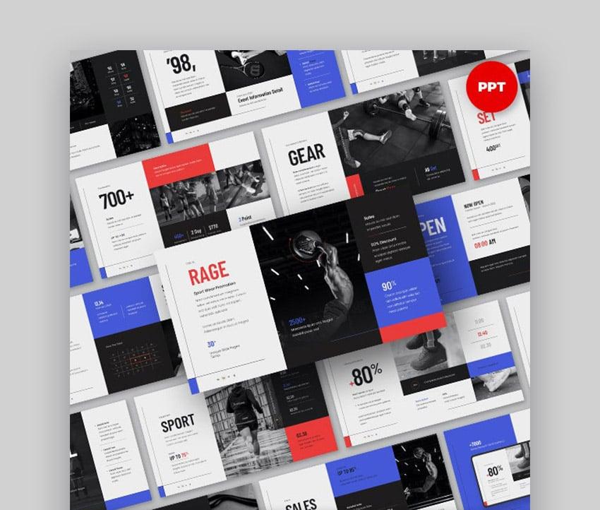 RAGE Sport Wear Product Presentation Sales PPT Template