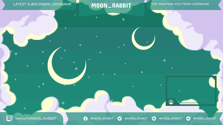 Aesthetic Twitch Overlay Maker with a Night Sky Pixel Art Background