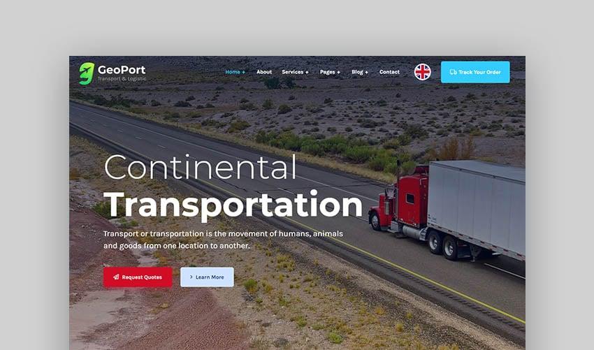 Geoport Logistics Transport Trucking Theme WordPress