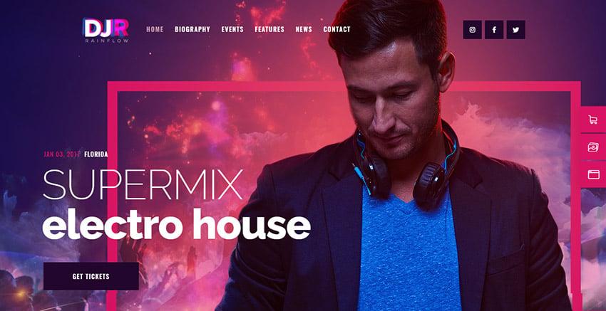 Vibrant Colors DJ Rainflow WordPress Radio Theme