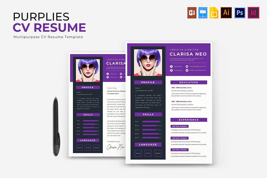 Purplies Art Resume With Social Media