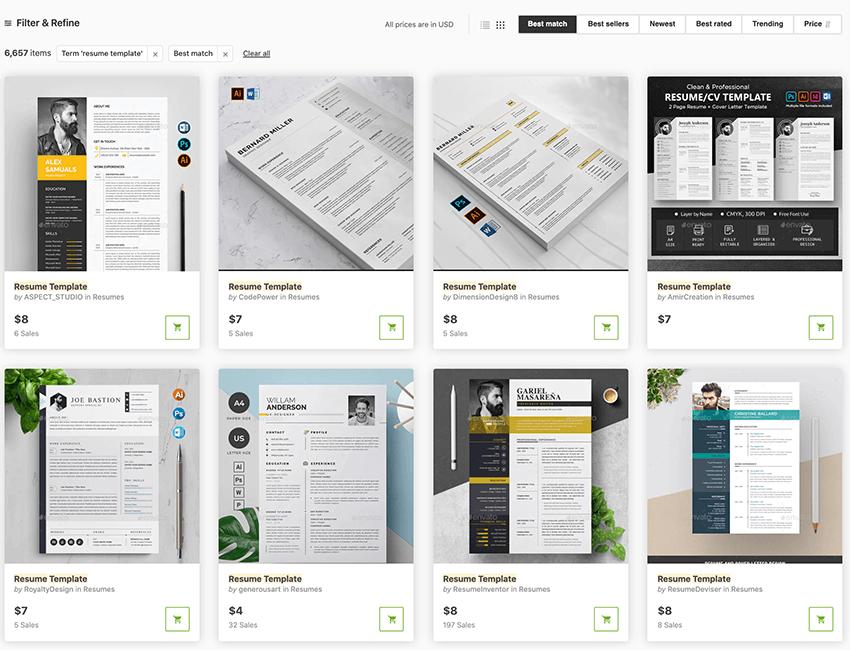 Resume Templates GraphicRiver