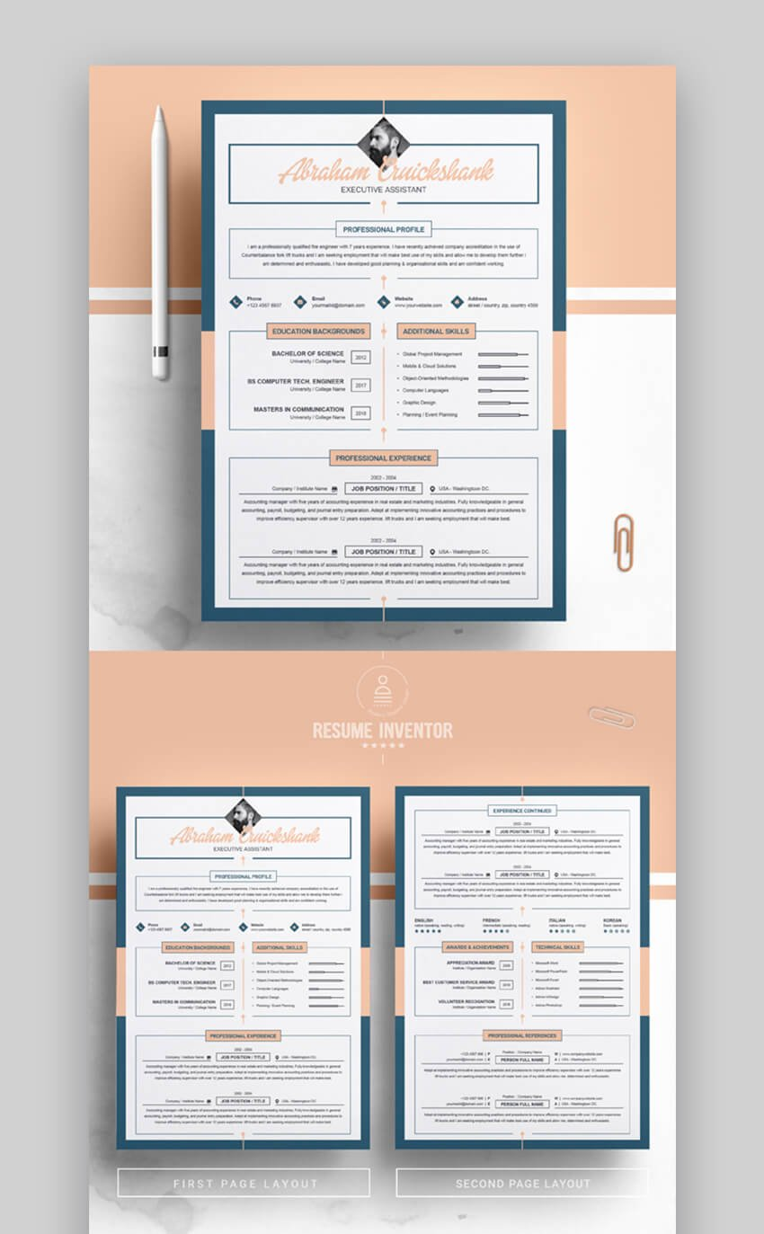Pink Blue Resume Template