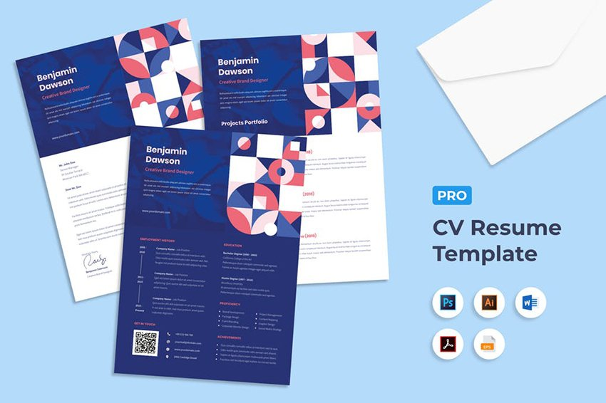 Blue Pattern Resume