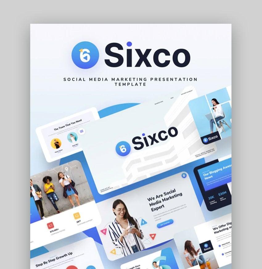 Sixco Social media marketing plan PowerPoint presentation Template