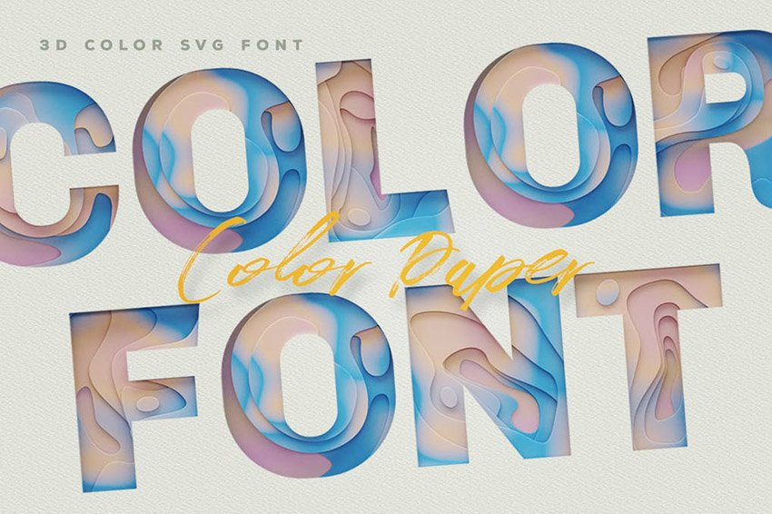 SVG Color Paper Font
