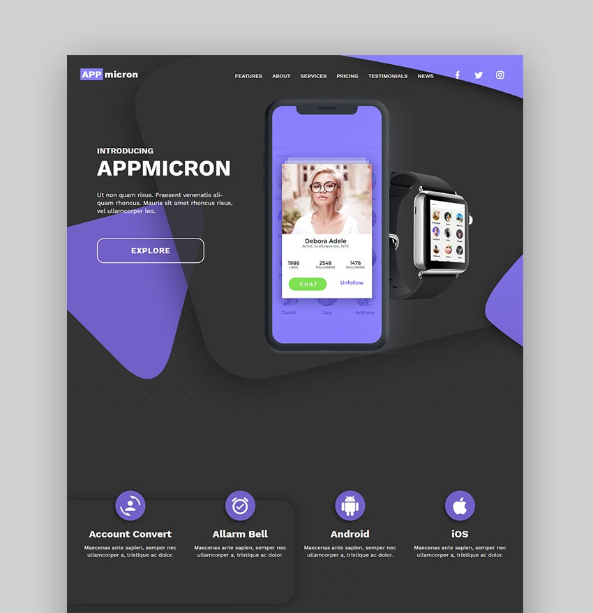 Appmicron App Landing Page