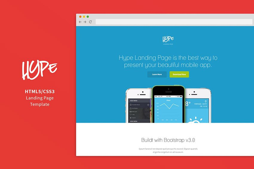 Hype Mobile App Landing Page Template