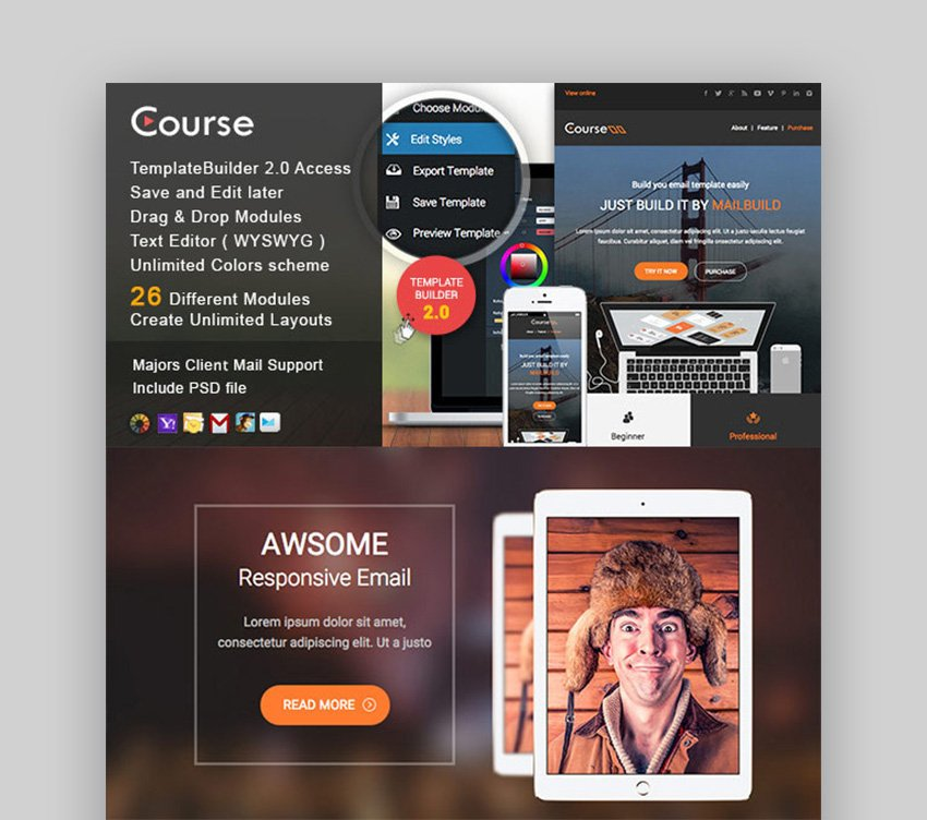 Course - Responsive Email Template  MailBuild Online