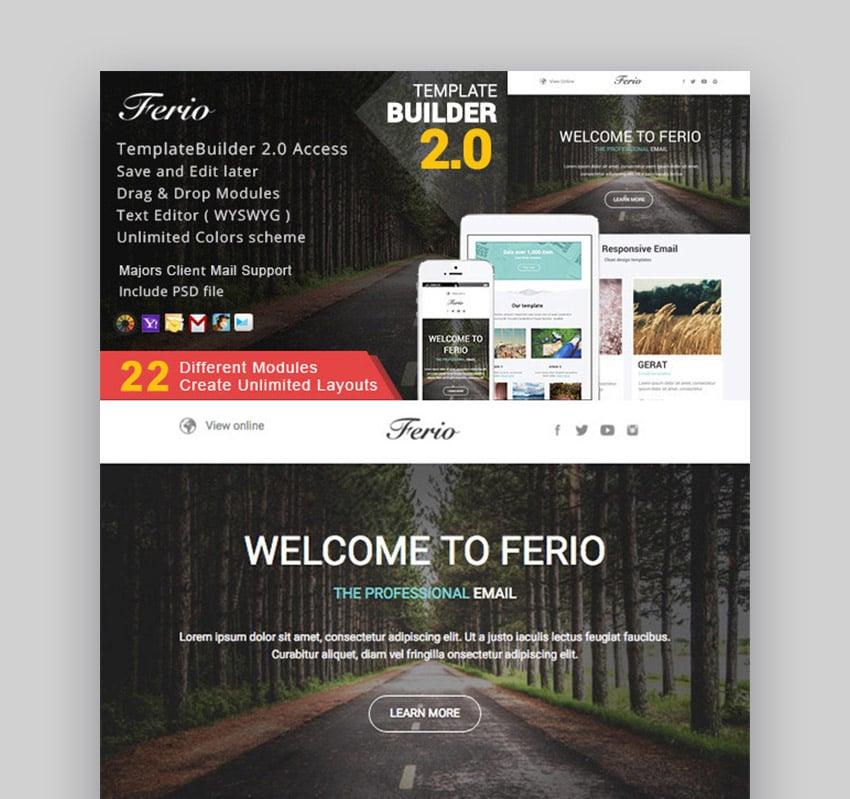 Ferio - Responsive Email  MailBuild Online