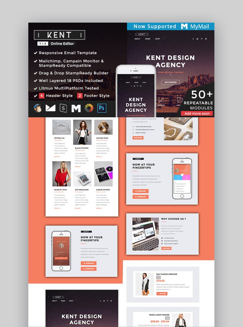 Kent - Responsive Email Template  StampReady Builder