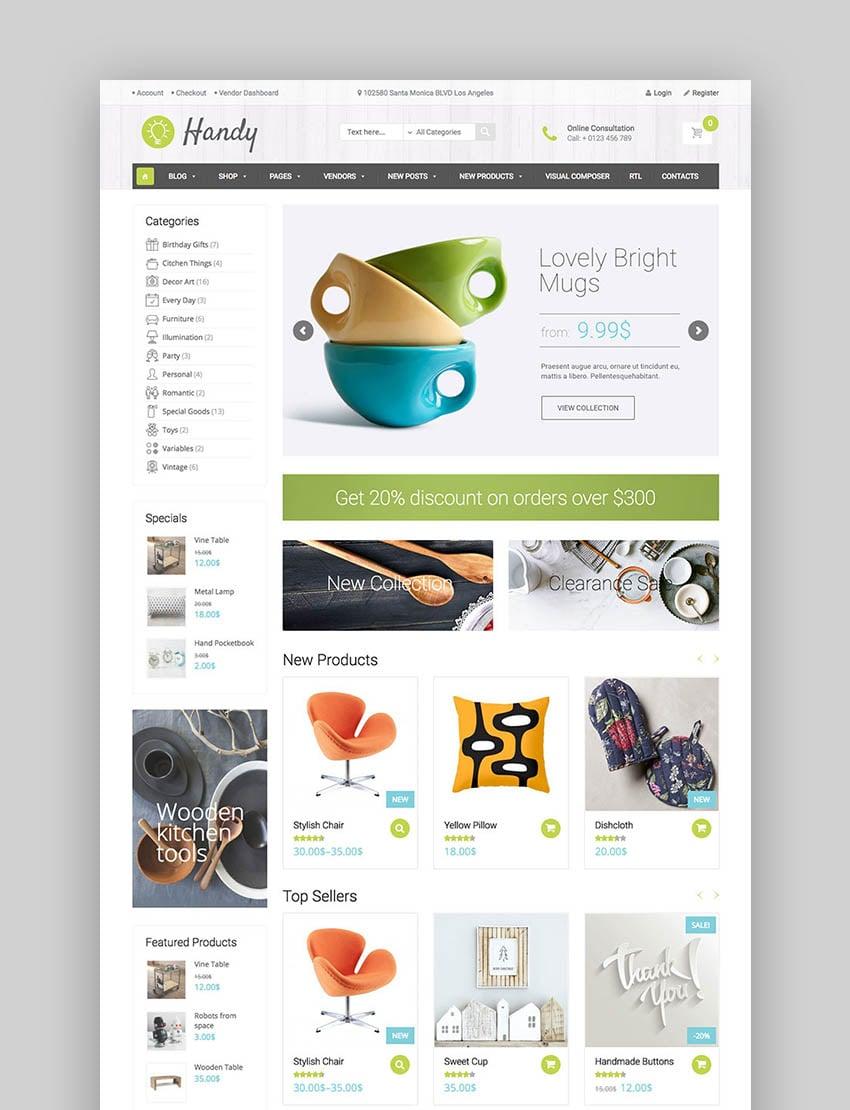 Handy - Elegante tema de eCommerce para marketplace de artesanía estilo Etsy con WordPress