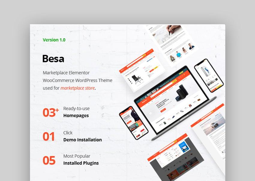 Besa - Tema WooCommerce para marketplace con Elementor