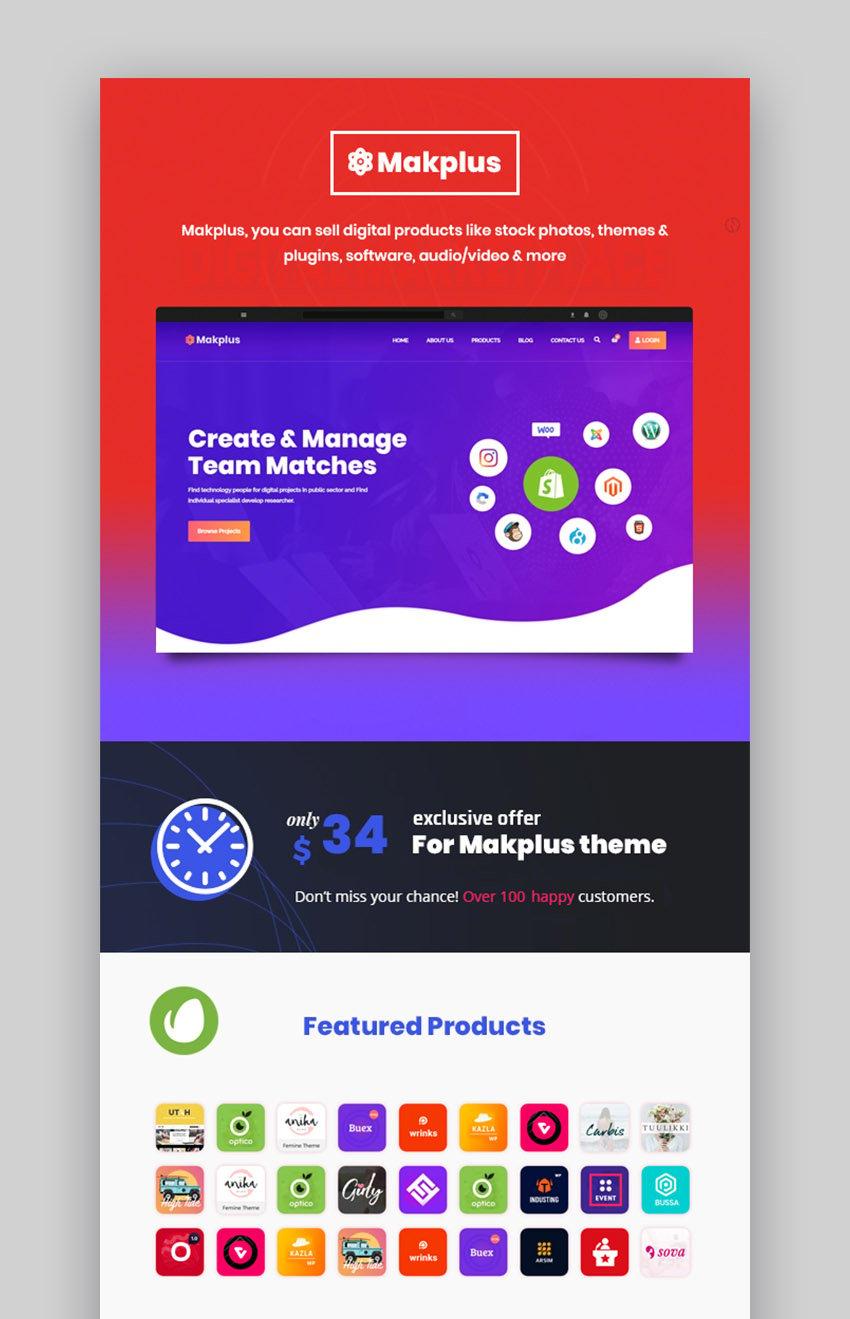 Makplus - Tema de WooCommerce para marketplace digital con WordPress