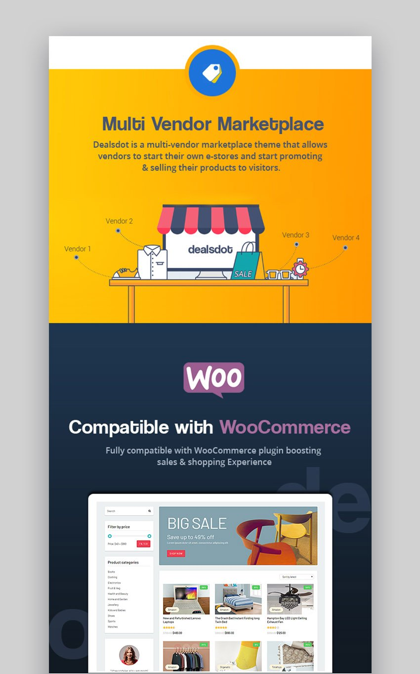Dealsdot - Tema de marketplace para WordPress con multiproveedores