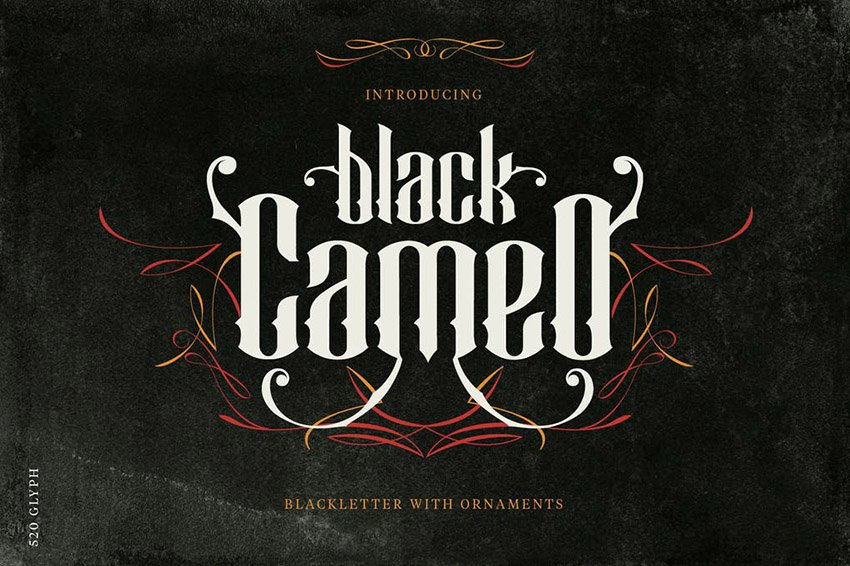 Black Cameo Old Gothic Font