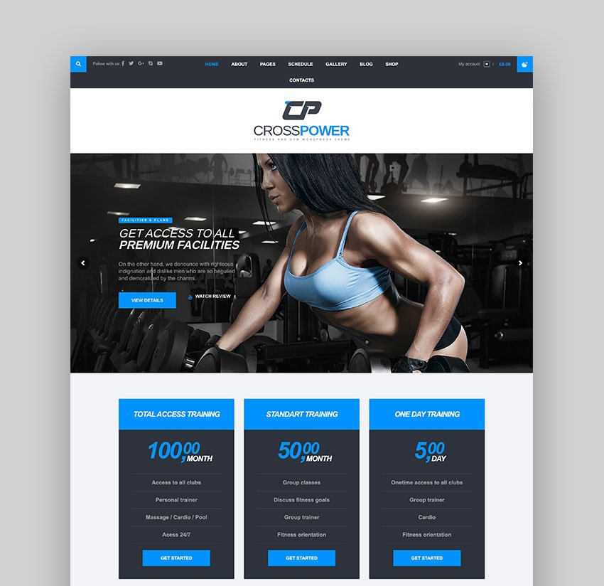 CrossPower CrossFit Website WordPress Theme
