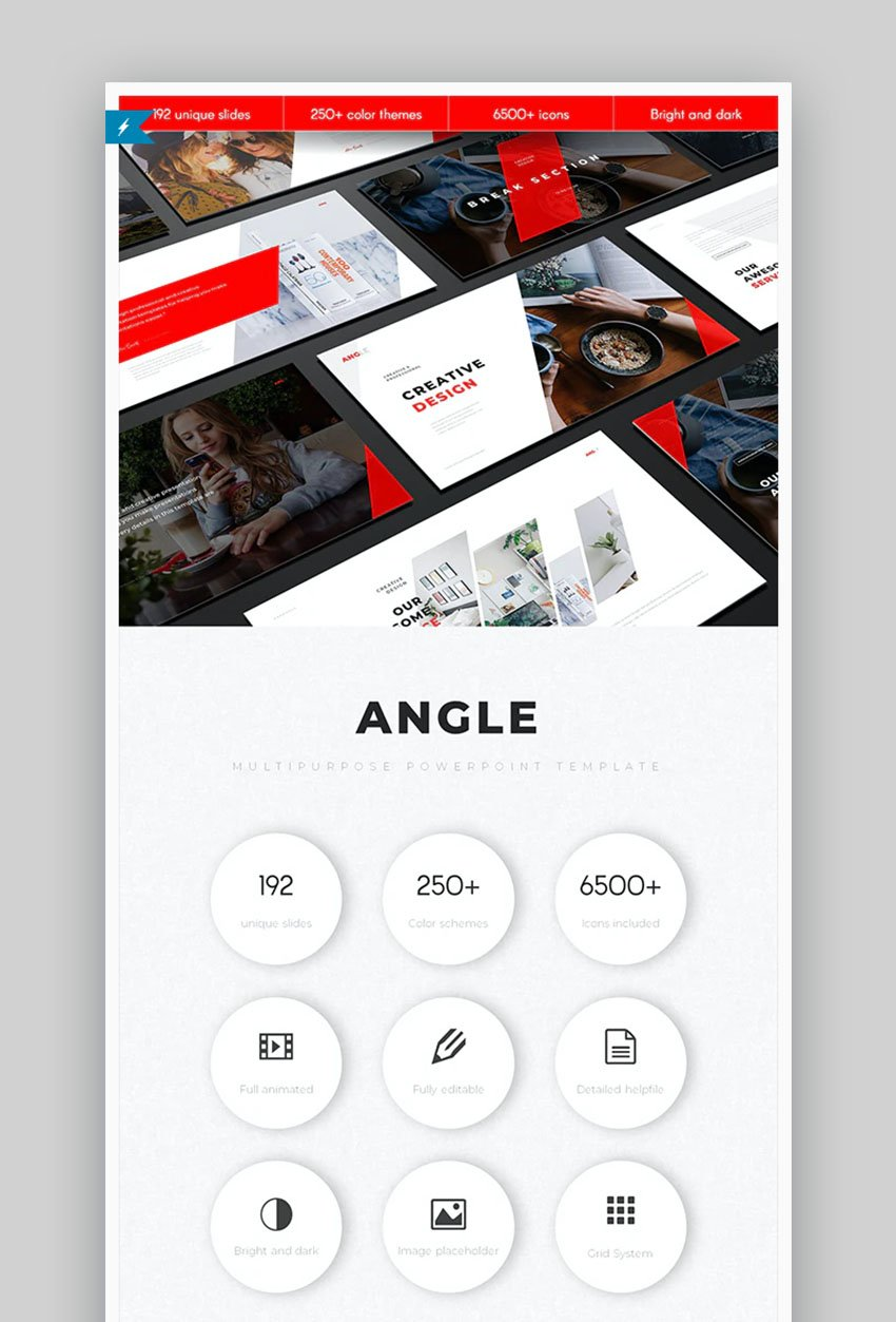 Angle Minimal PowerPoint Template Design