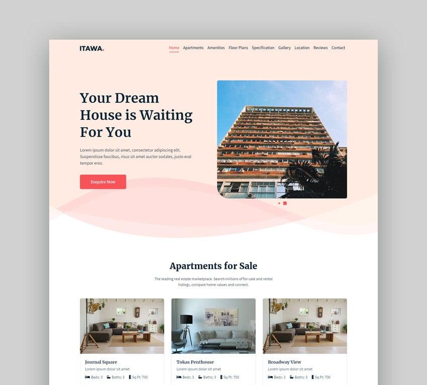 Itawa real estate landing page design