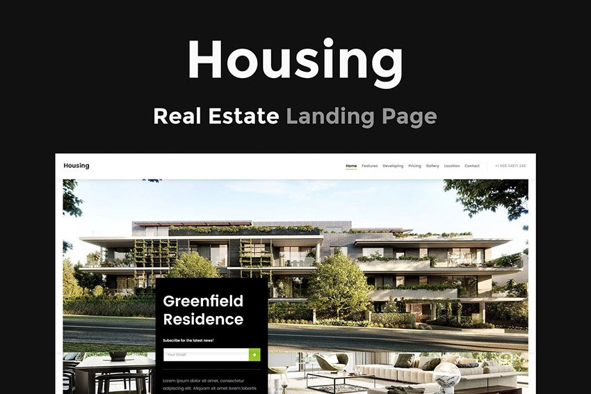 Housing Landing Page for Real Estate