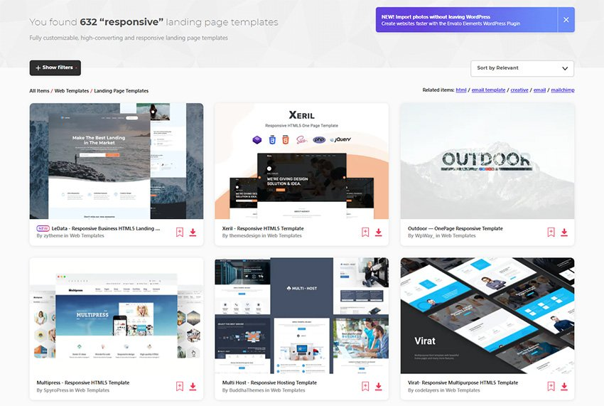 Responsive Landing Page Templates From Envato Elements
