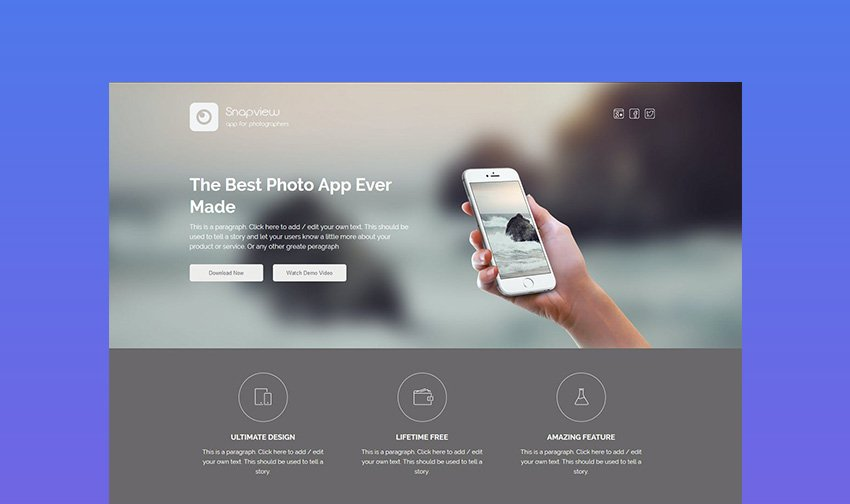Snapview Clean Landing Page Template