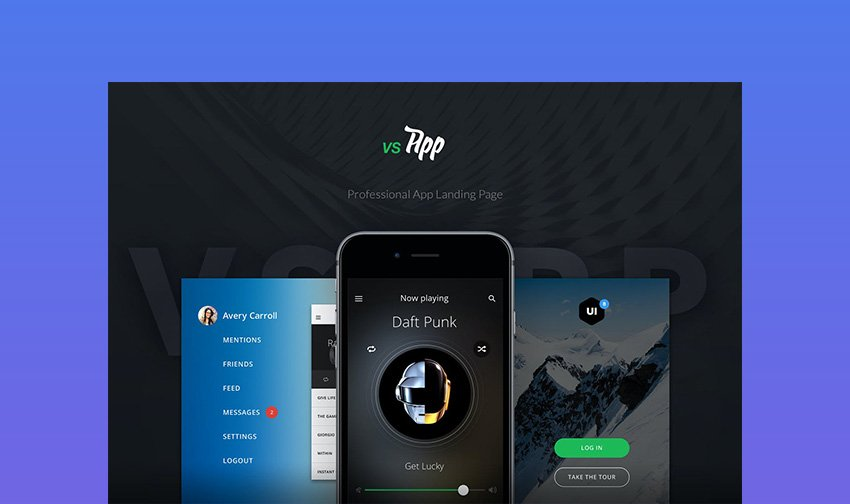 VSApp Responsive Landing Page Templates for Mobile Apps