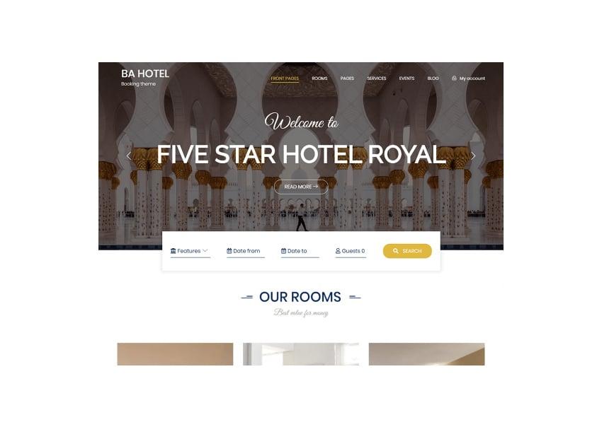 BA Hotel Light Hotel Theme WordPress Free