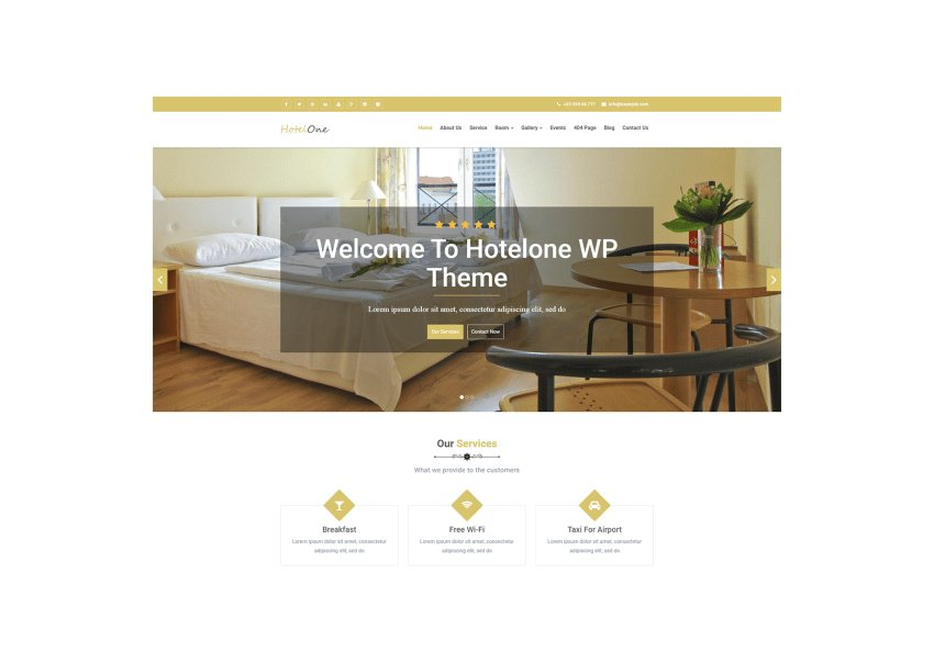 Hotelone Hotel Booking Hotel WordPress Theme Free Download
