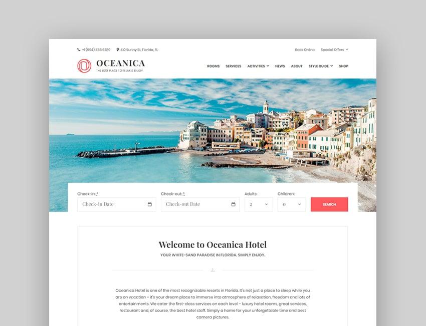 Oceanica Hospitality WordPress Theme