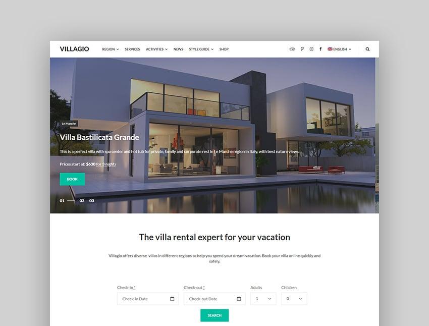 Villagio hotel reservation WordPress theme