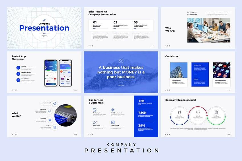 Unternehmenspräsentation Minimale interaktive PowerPoint-Ideen