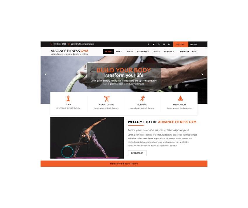 Advance Fitness Gym Fitness WordPress Theme Free