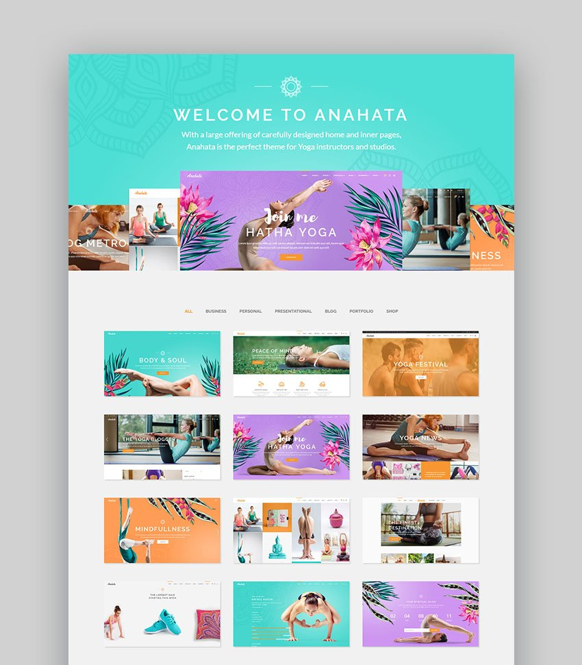Anahata Female Fitness Motivation WordPress Theme