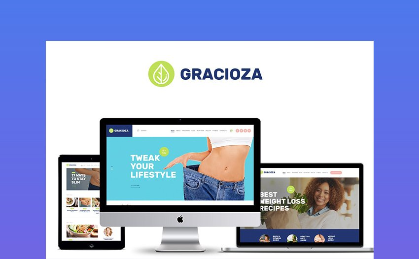 Gracioza Female Fitness Motivation WordPress Theme