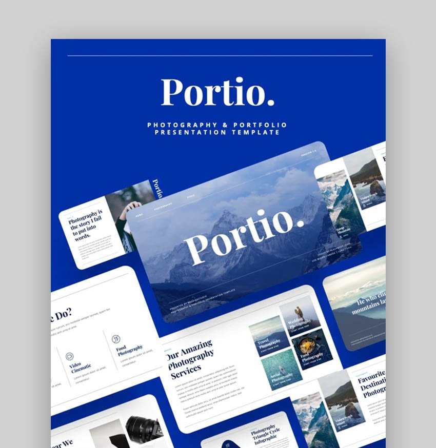Portio Modern Clean Photography PowerPoint Template